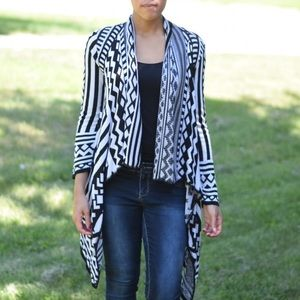 Black And White Open Cardigan Geo Shapes